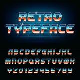 20世纪80年代减速火箭的字母表字体 库存图片