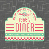 20世纪50年代吃饭的客人样式商标设计 向量例证