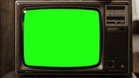 20世纪80年代电视绿色屏幕 乌贼属口气 徒升 影视素材