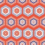 20世纪50年代称呼六角形补缀品小点无缝的传染媒介样式 民间艺术被子条纹 向量例证