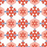 20世纪50年代称呼六角形补缀品小点无缝的传染媒介样式 民间艺术被子 向量例证