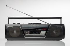 20世纪80年代称呼无线电卡式磁带播放机 库存图片
