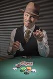 20世纪40年代成熟男性纸牌比赛 免版税库存图片