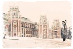 18世纪主要宫殿在Tsaritsyno公园,莫斯科,俄国, 库存照片
