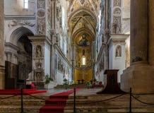 13世纪Cefalu大教堂在Cefalu,西西里岛,意大利 库存照片