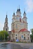 18世纪Cosmas和达米扬的寺庙在卡卢加州市,俄罗斯 免版税库存图片