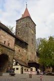 16世纪Tiergartnertor塔在纽伦堡 图库摄影