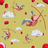 丘比特、云彩和心脏样式为情人节 免版税库存图片