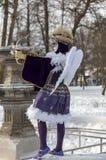 丘比特假装的人-阿讷西威尼斯式狂欢节2013年 库存图片