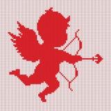 丘比特剪影 提花织物Fairisle编织的样式 免版税库存照片
