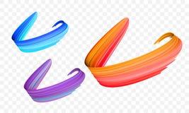 丙烯酸漆刷子冲程 导航明亮的桔子、天鹅绒或者紫色和蓝色梯度3d油漆刷纹理透明背景 向量例证