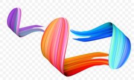 丙烯酸漆刷子冲程 导航明亮的桔子、天鹅绒或者紫色和蓝色梯度3d画笔在透明背景 向量例证