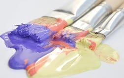 丙烯酸漆油漆刷 免版税库存照片