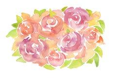 丙烯酸酯和水彩花被绘的背景 库存照片