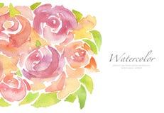 丙烯酸酯和水彩花被绘的背景 库存图片