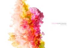 丙烯酸酯的墨水彩虹在水中 抽象被构造的背景颜色数字式展开分数维例证 库存图片