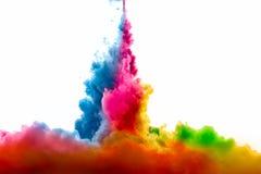 丙烯酸酯的墨水Raoinbow在水中 抽象被构造的背景颜色数字式展开分数维例证 免版税库存图片