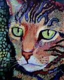 丙烯酸酯的猫绘画纵向老虎 免版税图库摄影