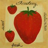 丙烯酸酯的绘画草莓 免版税库存照片