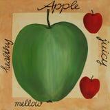 丙烯酸酯的苹果绘画 免版税库存照片