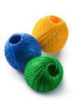 丙烯酸酯的蓝色滚成线球绿色纱线黄&# 免版税库存图片
