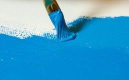 丙烯酸酯的蓝色绘画 免版税库存照片