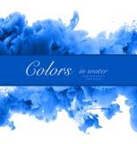 丙烯酸酯的颜色和墨水在水中 抽象背景框架 Isol 免版税库存图片