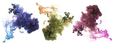 丙烯酸酯的颜色和墨水在水中 抽象背景 免版税图库摄影