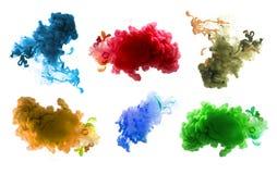 丙烯酸酯的颜色和墨水在水中 抽象背景 免版税库存图片