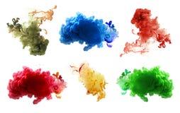 丙烯酸酯的颜色和墨水在水中 抽象背景 图库摄影