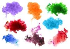 丙烯酸酯的颜色和墨水在水中 抽象背景 库存照片