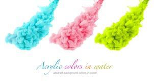 丙烯酸酯的颜色在水中 抽象背景 免版税库存图片