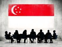 业务会议剪影在新加坡 免版税库存照片