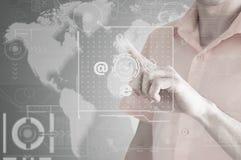 业务会议在一个虚拟空间概念性企业例证 免版税图库摄影