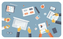 业务会议平的例证概念 免版税图库摄影