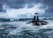 业务会议海岛危机挑战概念 免版税库存照片