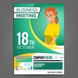业务会议海报传染媒介 2 business woman 会议的邀请,论坛,群策群力 绿色,黄色盖子 库存照片