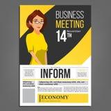 业务会议海报传染媒介 2 business woman 格式 3d背景概念例证查出的介绍回报了白色 公司横幅模板 A4大小 平面 免版税库存照片