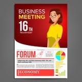 业务会议海报传染媒介 2 business woman 格式 3d背景概念例证查出的介绍回报了白色 红色,黄色公司横幅模板 A4 库存图片