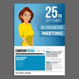 业务会议海报传染媒介 2 business woman 邀请和日期 会议模板 A4大小 盖子年终报告 免版税图库摄影