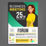 业务会议海报传染媒介 2 business woman 邀请和日期 会议模板 A4大小 绿色,黄色盖子 库存图片