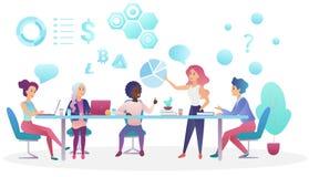 业务会议的概念在coworking的办公室中心 谈和传染媒介的创造性的人队 向量例证