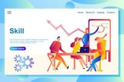 业务会议的网页概念的例证,配合,训练专业技术 库存例证
