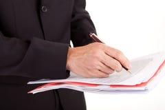 业务单据人签字 免版税图库摄影
