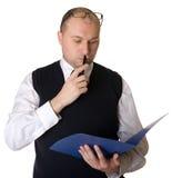 业务单据人读取 免版税图库摄影