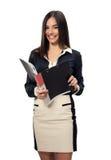 业务单据微笑的妇女 免版税图库摄影
