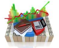 业务计算-对金融市场的分析 免版税库存照片