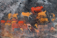 丛林居民岩石绘画 免版税库存照片