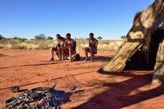 丛林居民村庄,喀拉哈里沙漠,纳米比亚 免版税图库摄影