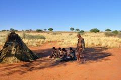 丛林居民村庄,喀拉哈里沙漠,纳米比亚 图库摄影